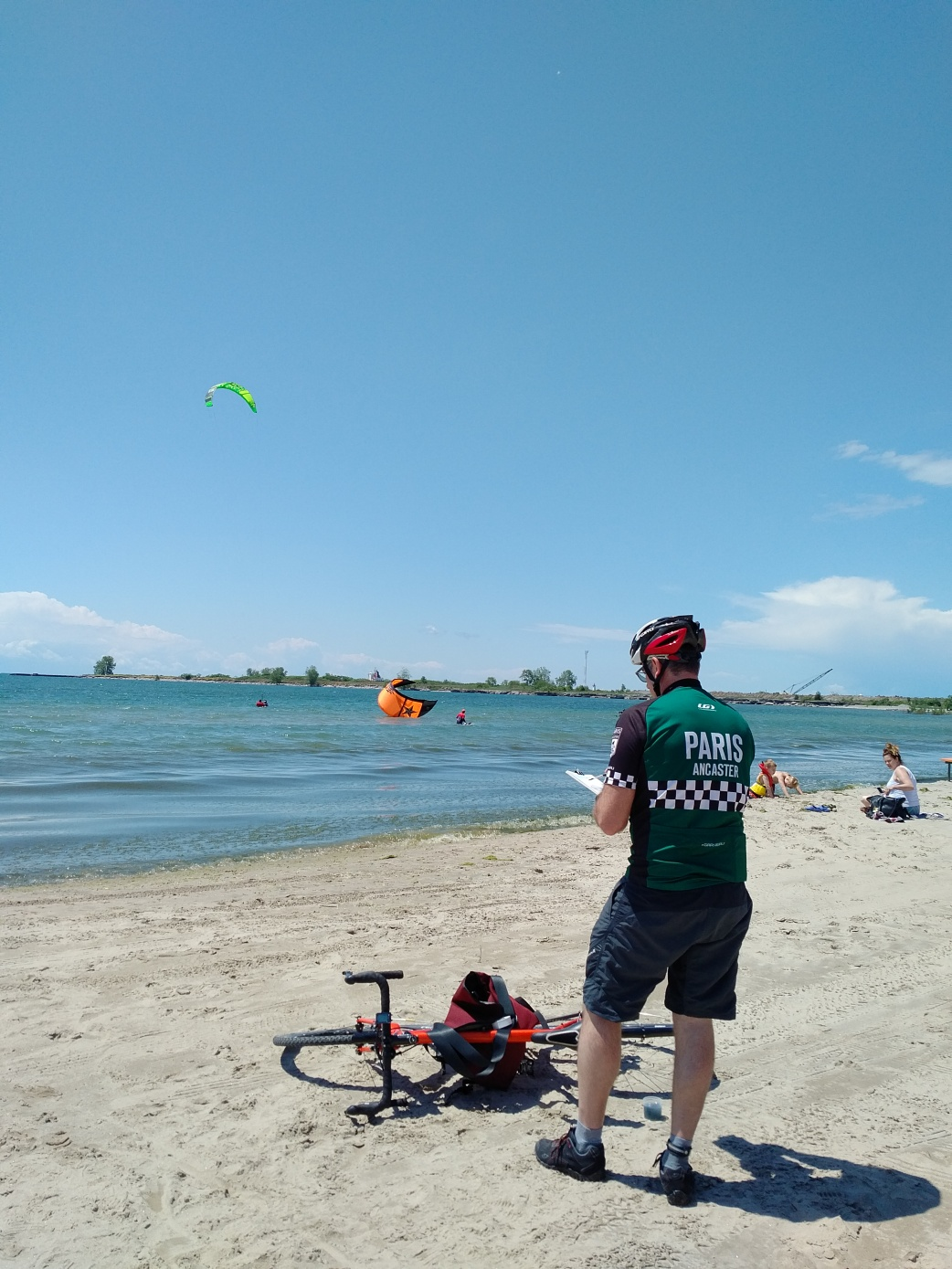 Watching the kite surfers at Nickel Beach, Port Colborne