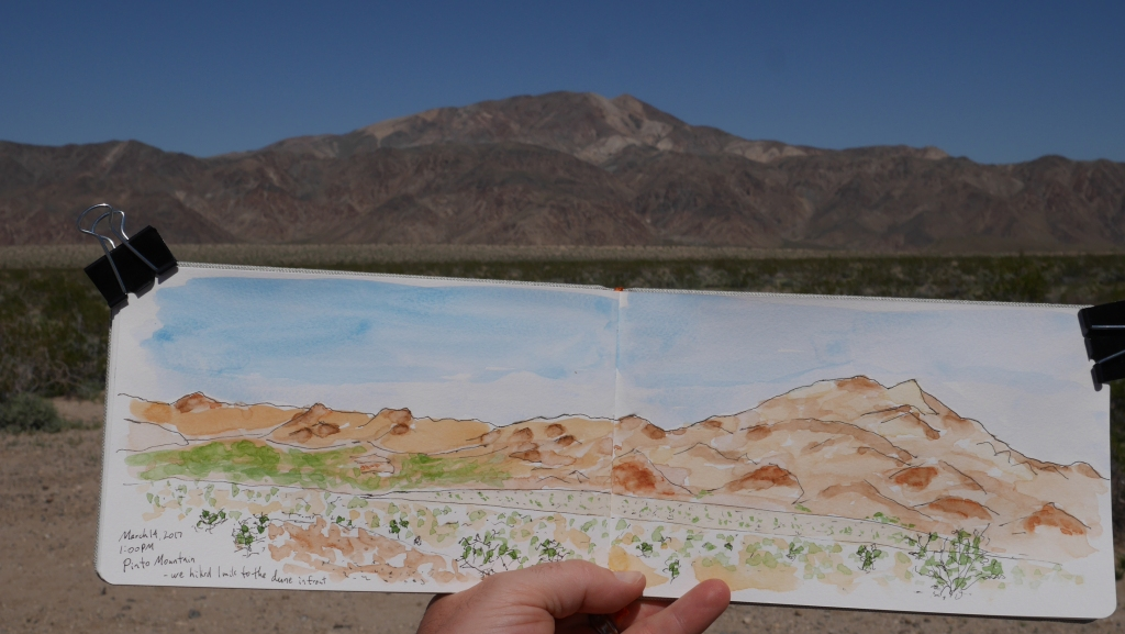 Trent Bauman's ink and watercolour sketch of Pinto Mountain, Joshua Tree California
