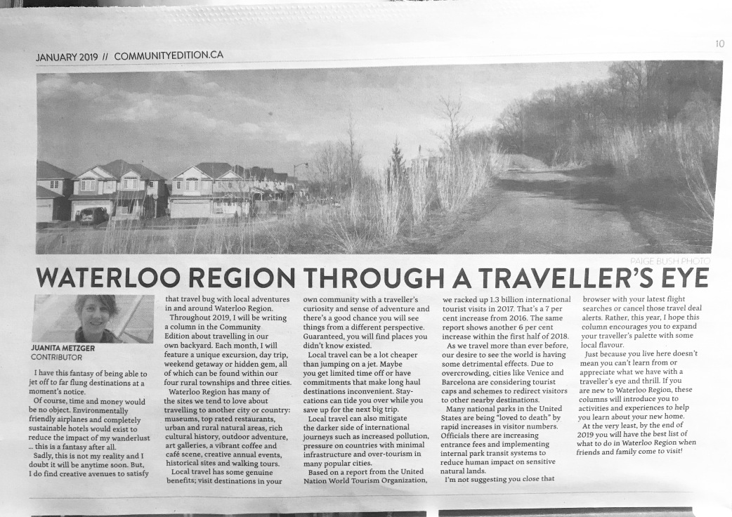 hyperlocal travel column for The Community Edition