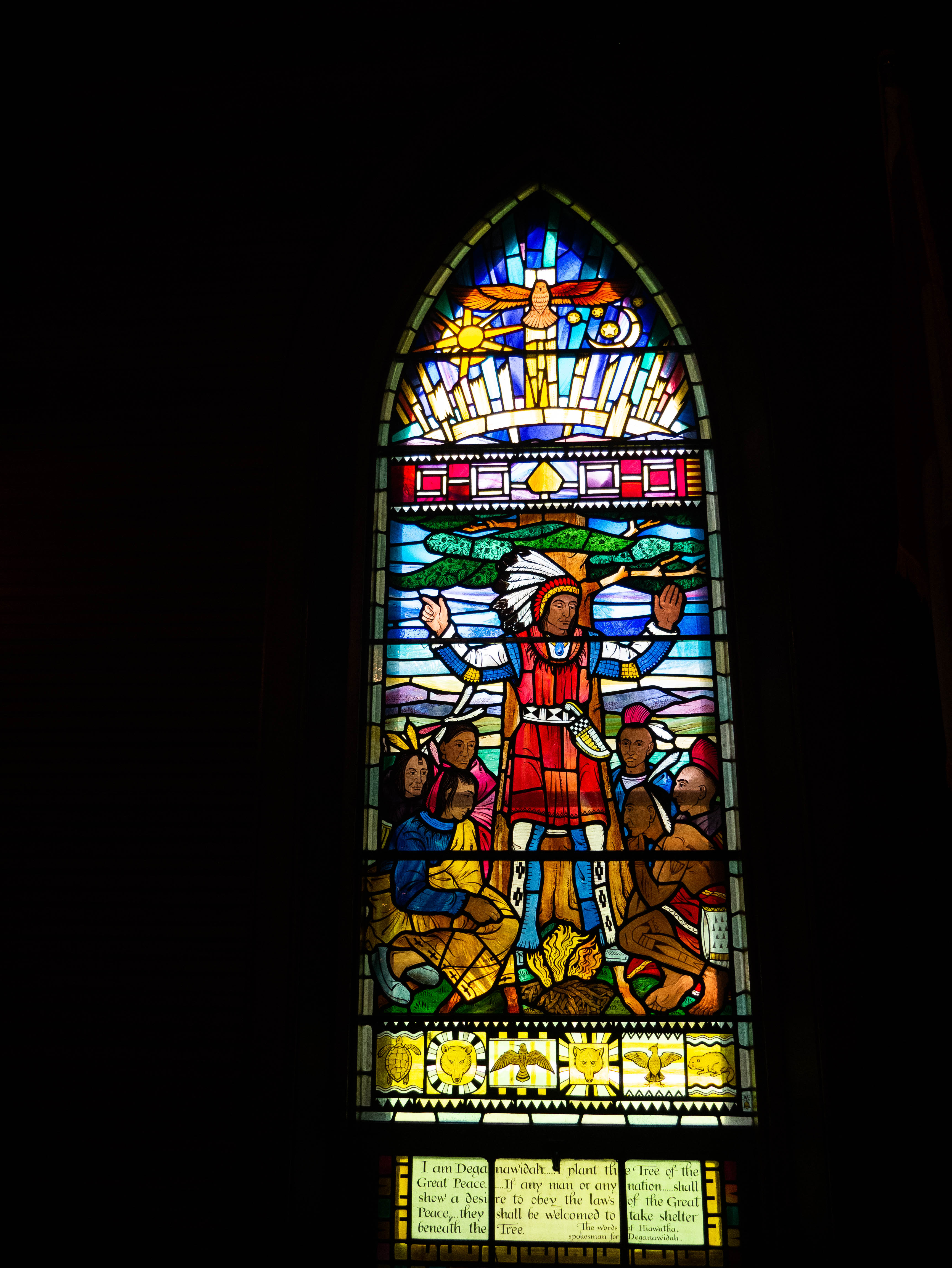 Stained Glass window in the Mohawk Chapel